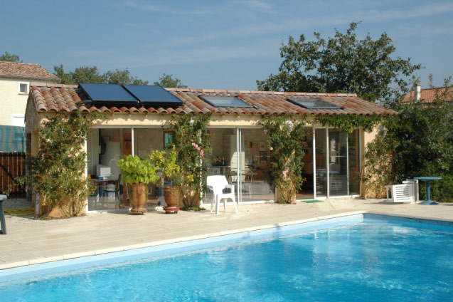 Piscine et poolhouse, Labeaume